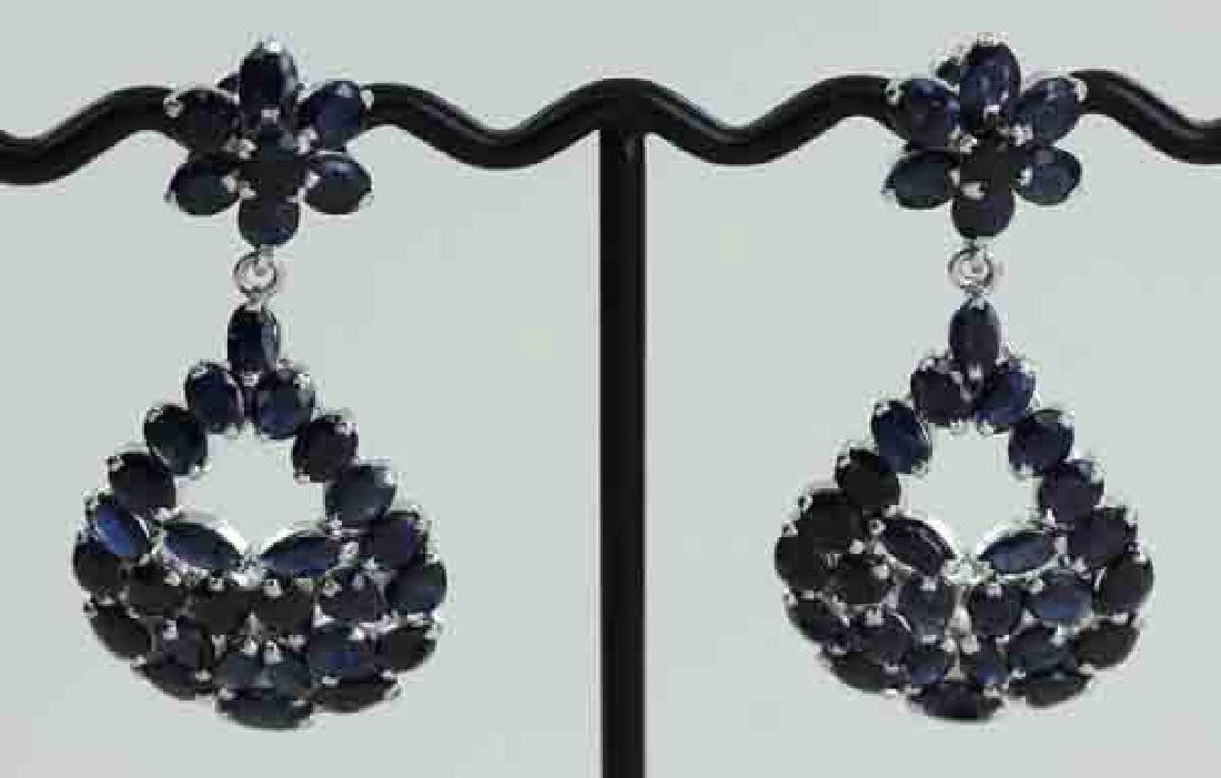 228twc Bl Sapphire Gold Vermeil Earrings