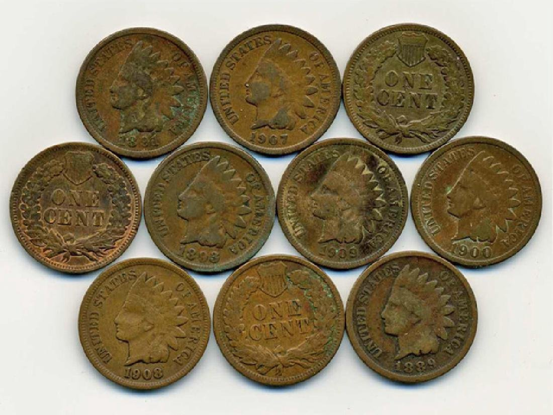 10 US Indian Cent Coin Lot