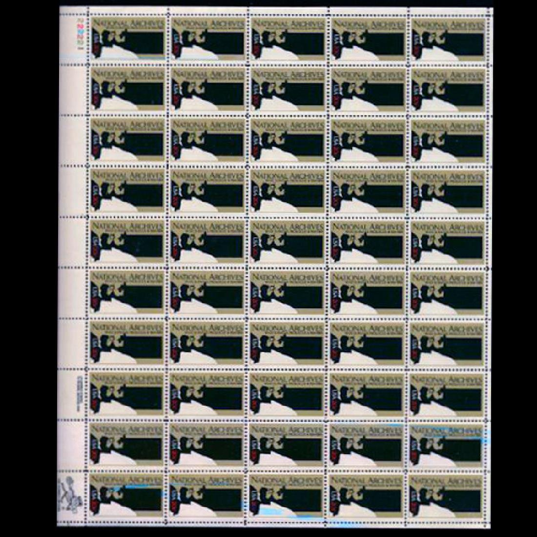 1984 US Sheet 20c National Archives Stamps MNH Errors