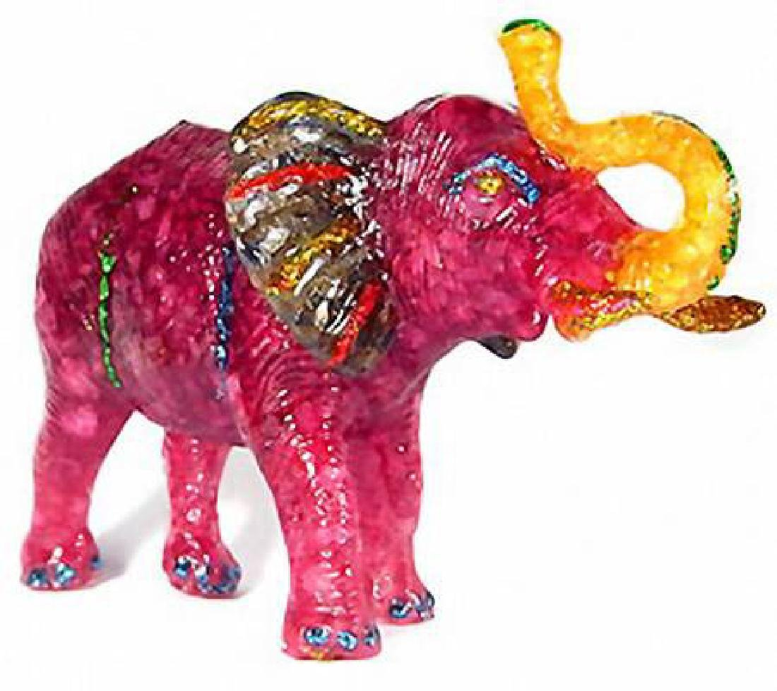 500ct Red Ruby & Topaz Elephant Figure Statue