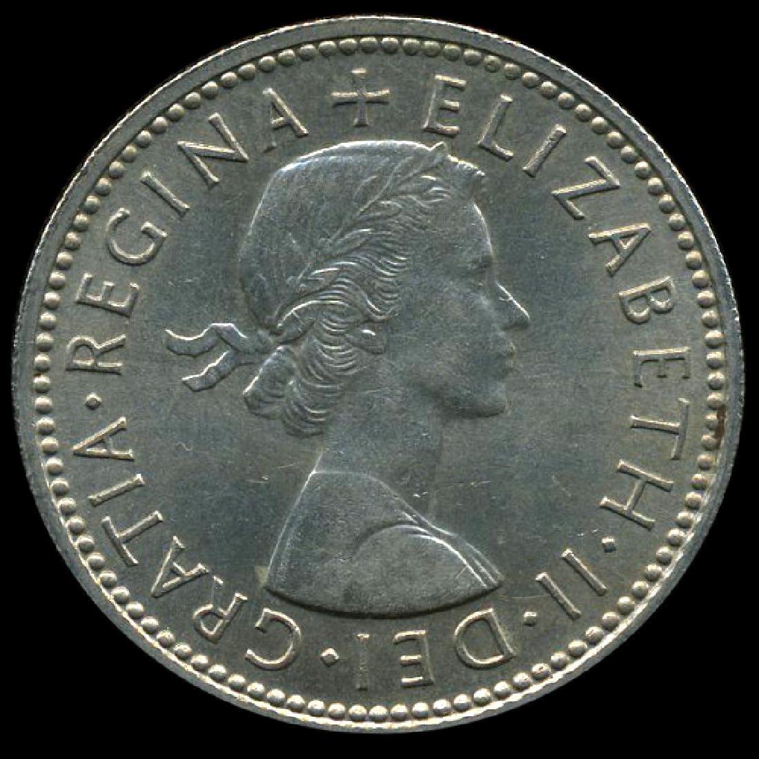 1959 British QE2 1 Shilling Scarce Scottish Rev CHOICE