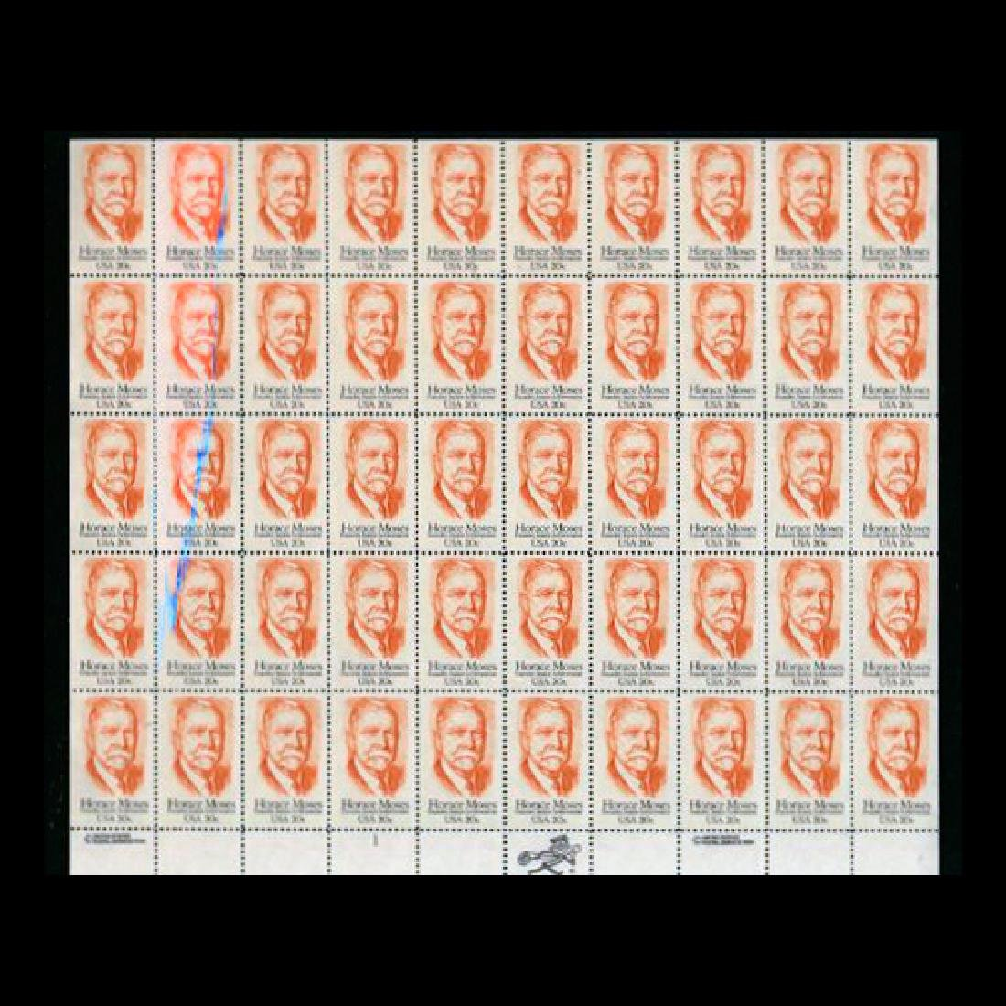 1984 US Sheet 20c Horace Moses Stamps MNH Error RARE