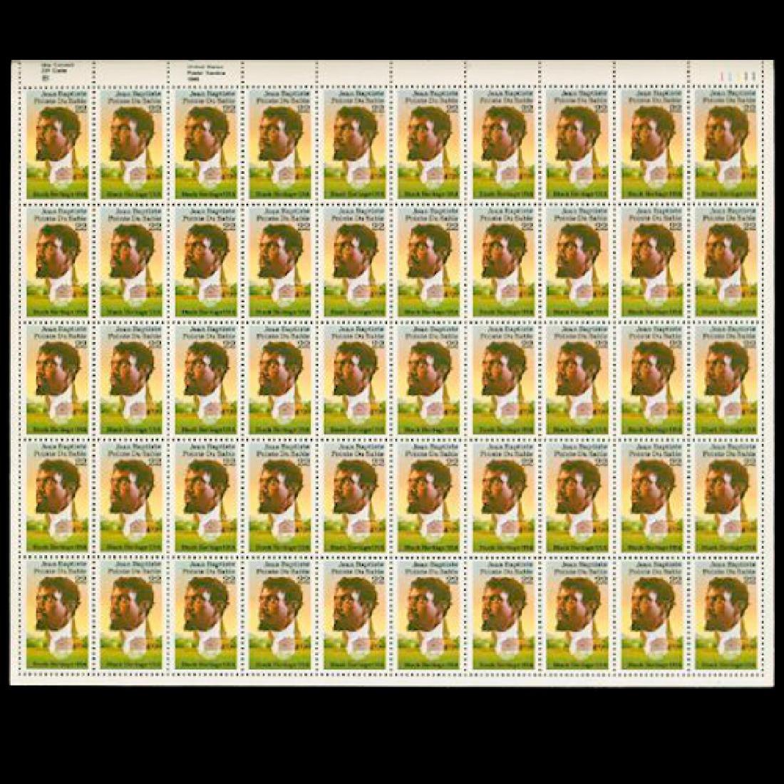 1987 US Sheet 22c Jean Baptiste Stamps MNH Scarce