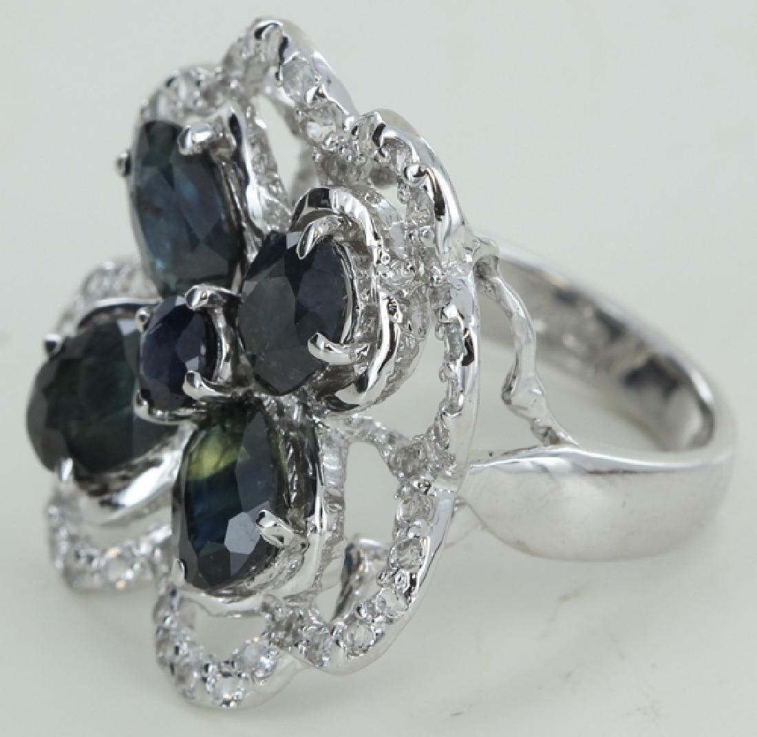 43twc Bl Sapphire Gold Vermeil Ring
