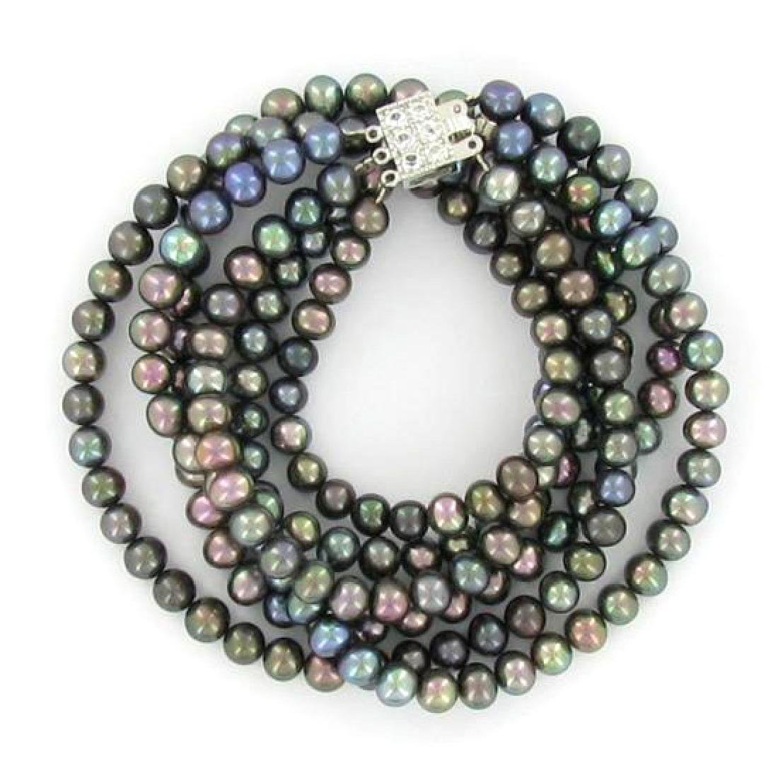 Black Small Saltwater Pearl Necklace