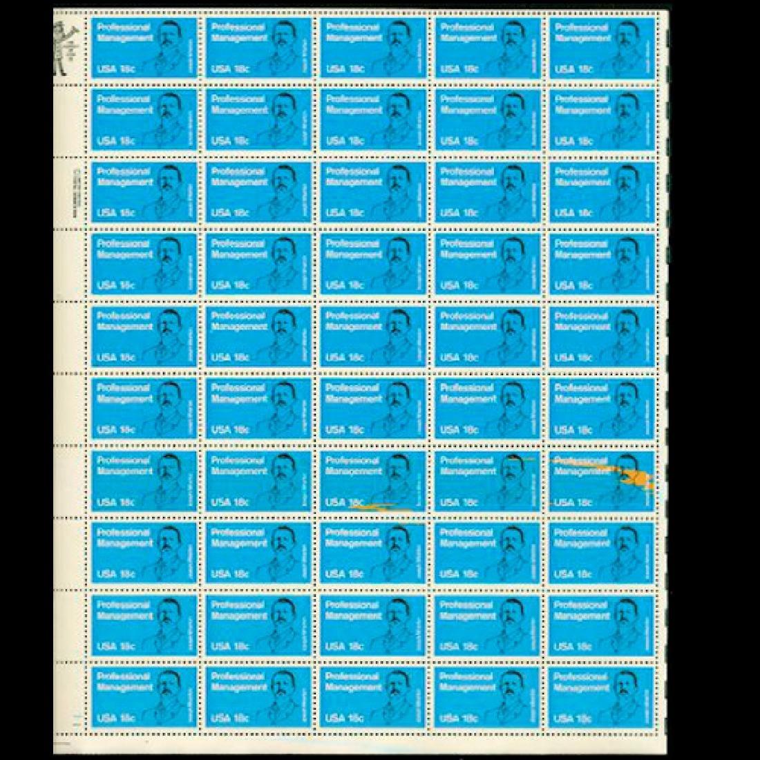 1981 US Sheet 18c Professional Management Stamps MNH