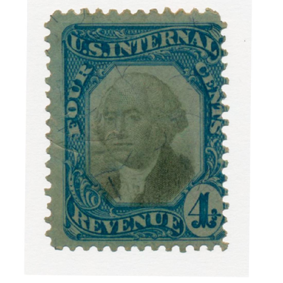1871 US 4c Revenue Stamp Scarce Cancel
