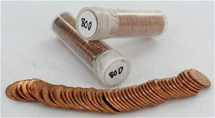 1980D Unsearched Estate Hoard BU Cent 3 Rolls of 50