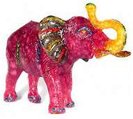 500ct Red Ruby Topaz Elephant Figure Statue