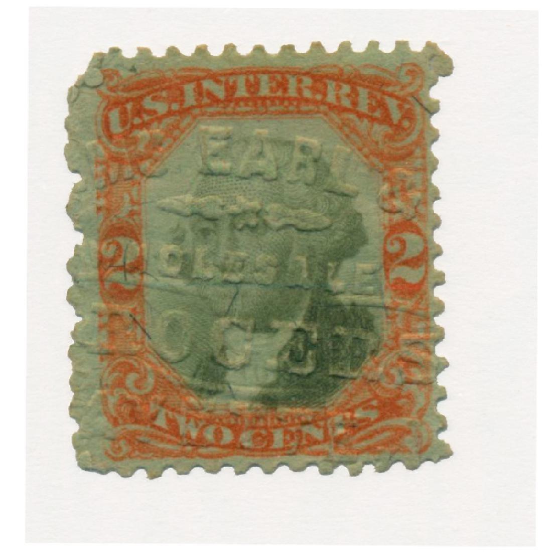 1872 US 2c Revenue Stamp RARE Cancel