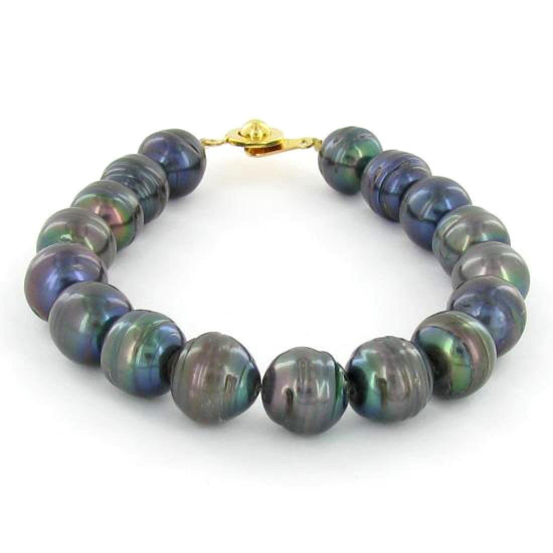 Saltwater Baroque Black Pearl Bracelet