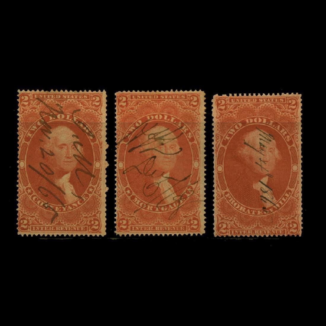 1861 US $2 Revenue Stamp Set 3pcs