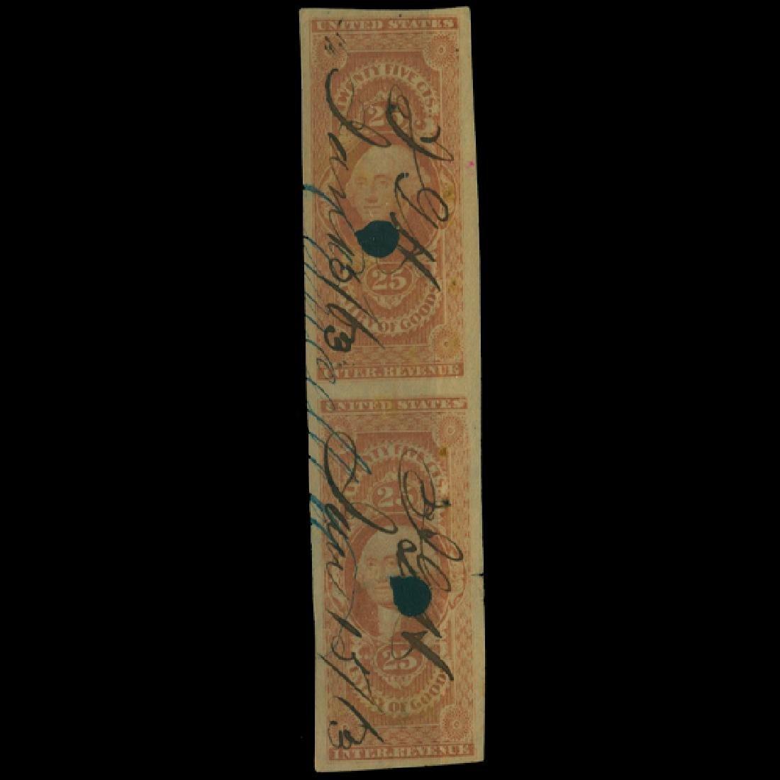 1863 US 25c Revenue Stamp Pair