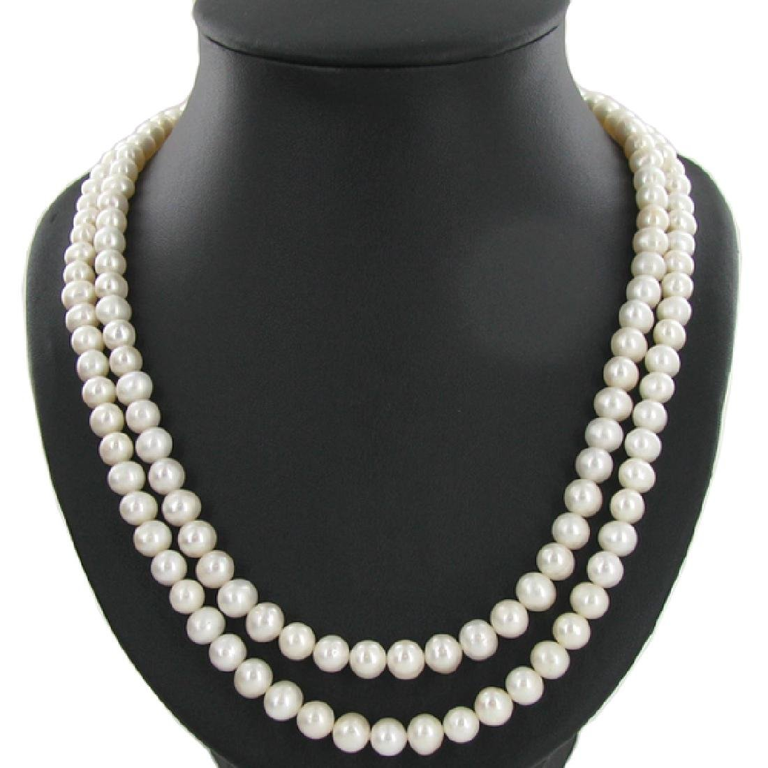 White Saltwater Pearl Double Strand 42""