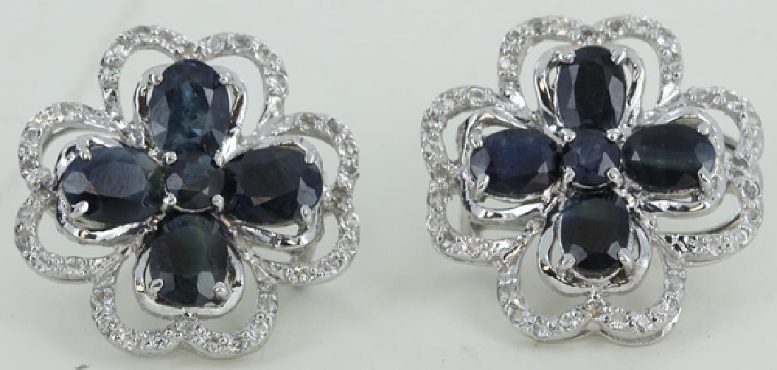 68.5twc Bl Sapphire Gold Vermeil Earrings