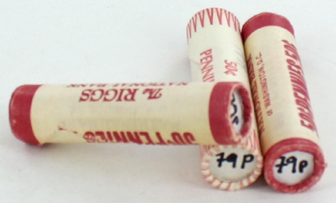 1979 Linc 1c BU Scarce UnOpened Bank 3 Rolls 50 GEMS
