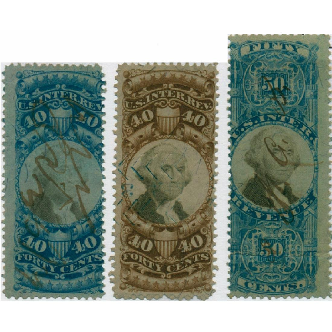 1871 US 40c 40c 50c Revenue Stamps