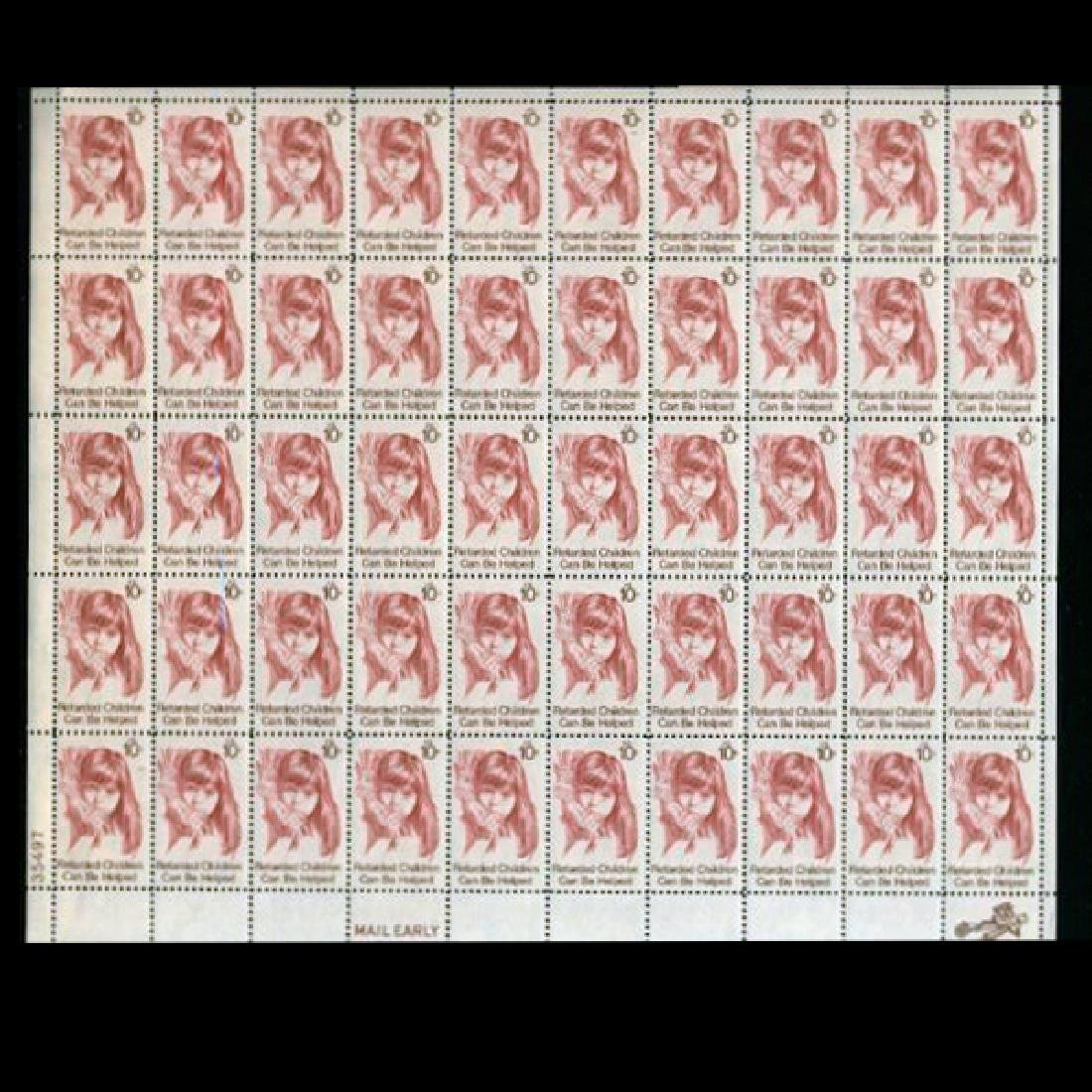 1974 US Sheet 10c Retarded Children Stamps MNH Error