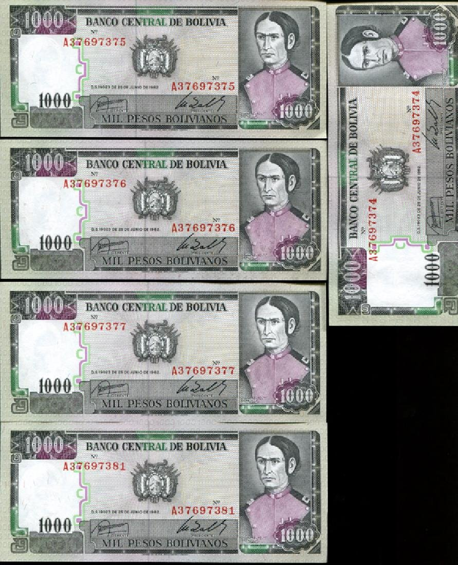 1982 Bolivia 1000P Crisp Unc Note 10pcs Scarce