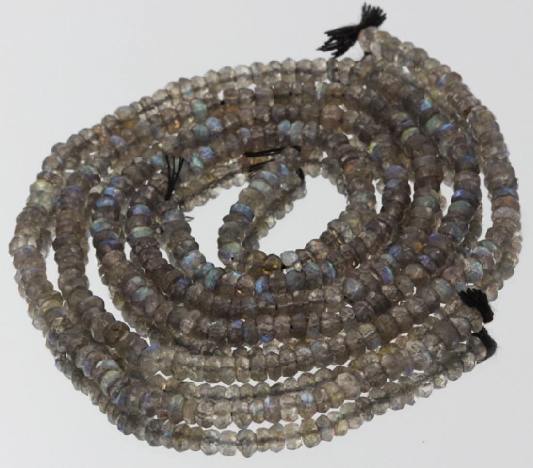80ct Labradorite Faceted Bead Strand Pair