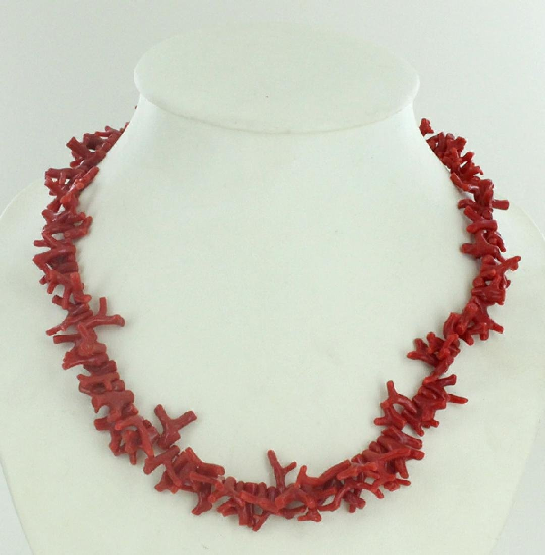 310twc Natural Sicilian Red Coral Necklace Strand