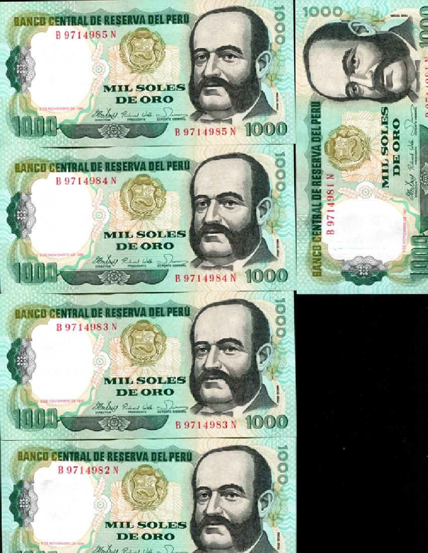 1981 Peru 1000S Crisp Unc Note 10pcs Scarce Sequential