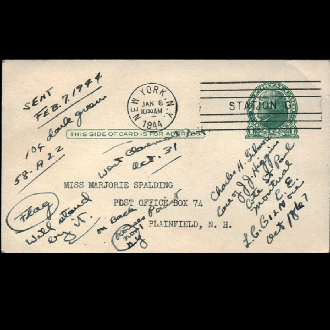 1944 US Scott Stamp Reply  Postal Card