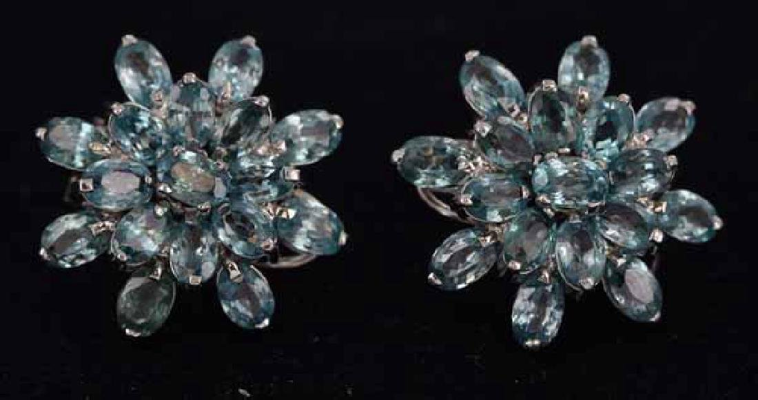 57twc Blue Zircon Gold Vermeil  Earrings