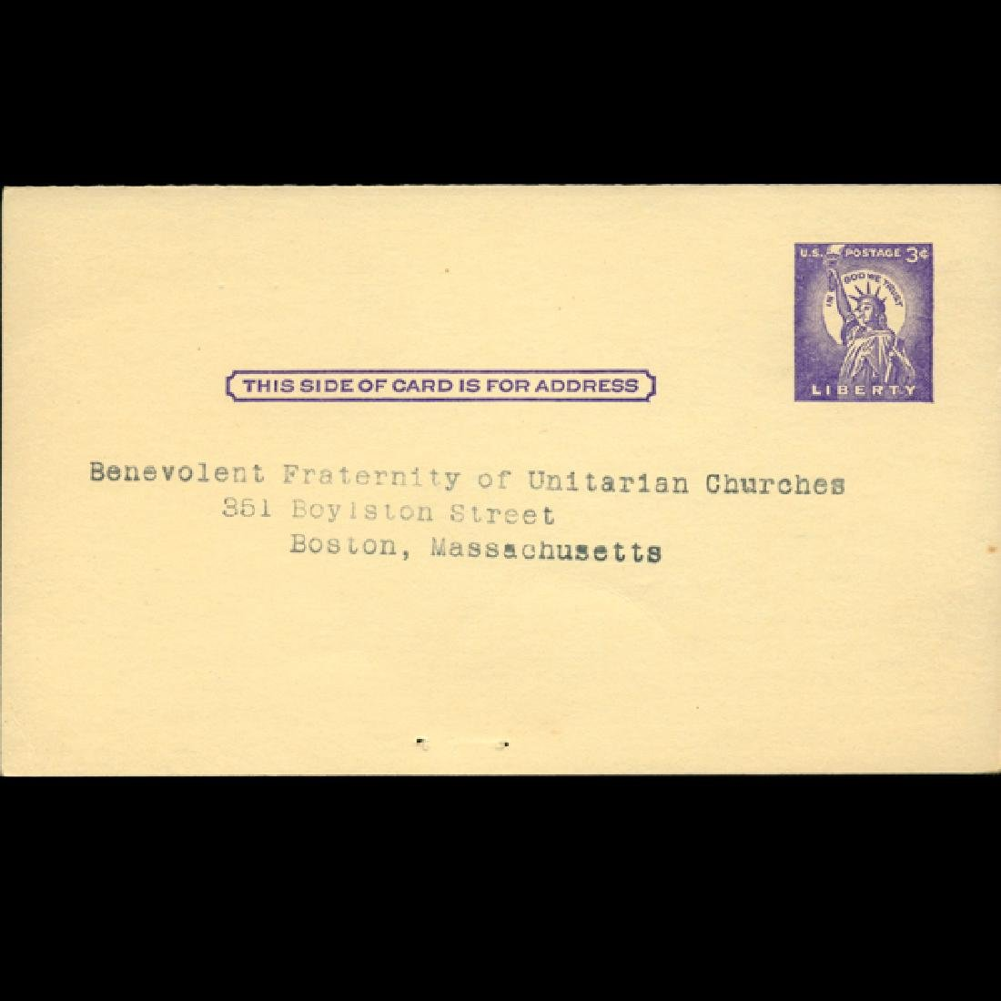 1958 US Unused Addressed Postal Card