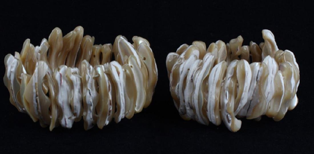 Stretch Shell/MOP Bracelet Pair