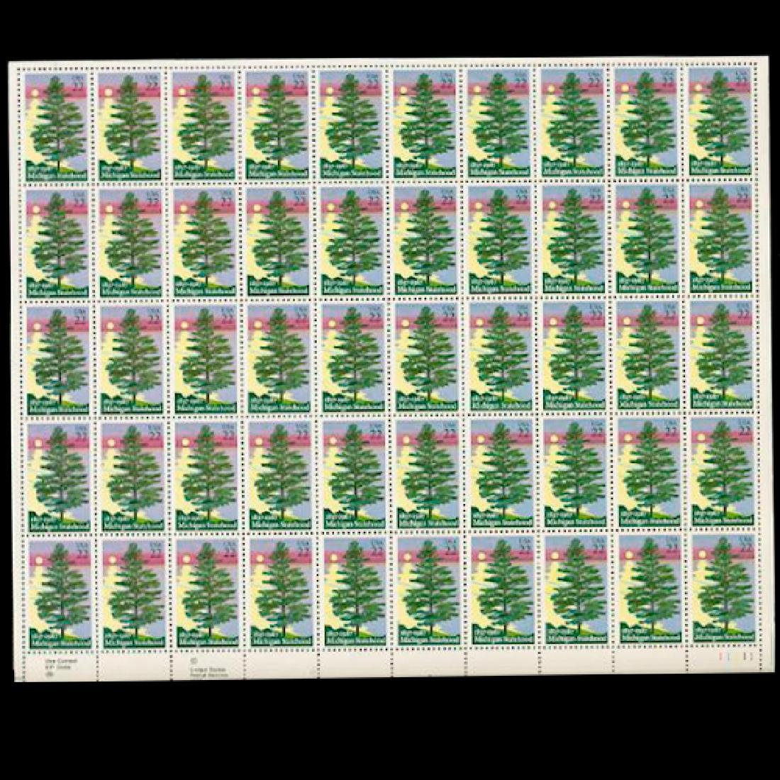 1987 US Sheet 22c Michigan Statehood Stamps MNH Error