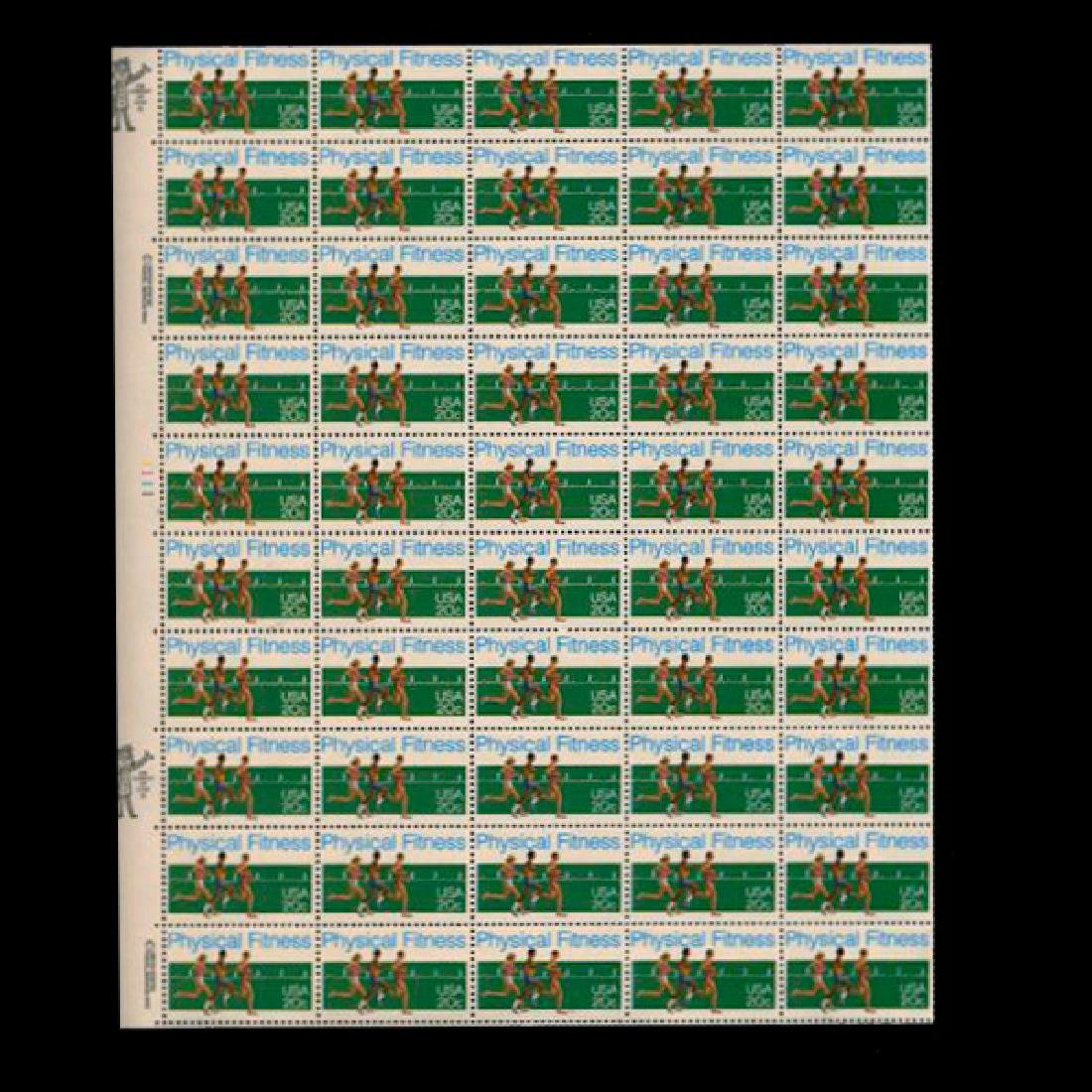 1983 US Sheet 20c Physical Fitness Stamps MNH Error