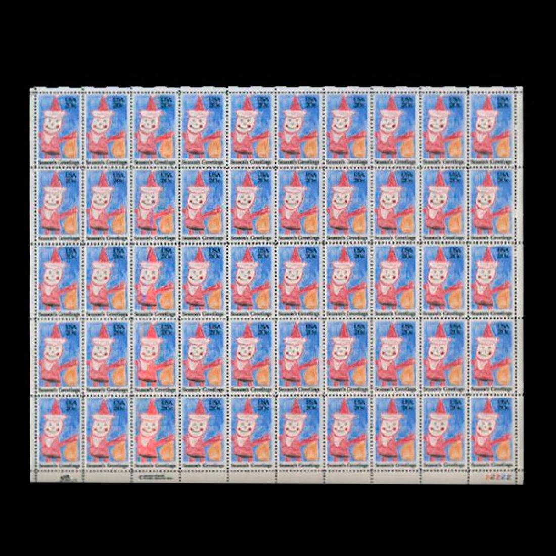 1984 US Sheet 20c Santa Claus Stamps MNH Error RARE