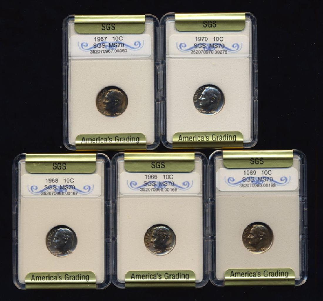 1966-70 Roosevelt Dime Set Graded UNC GEMS