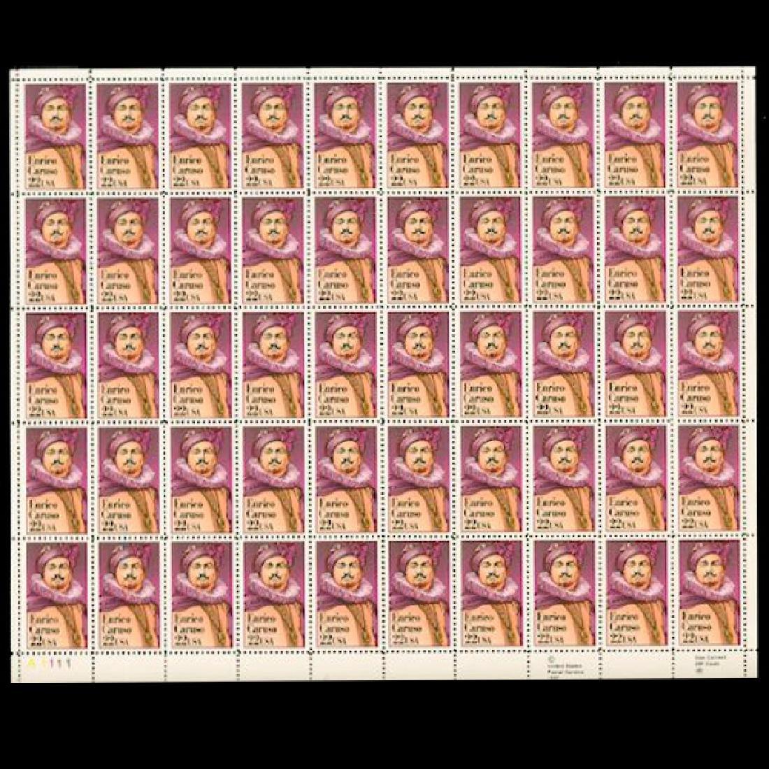 1987 US Sheet 22c Enrico Caruso Stamps MNH Scarce
