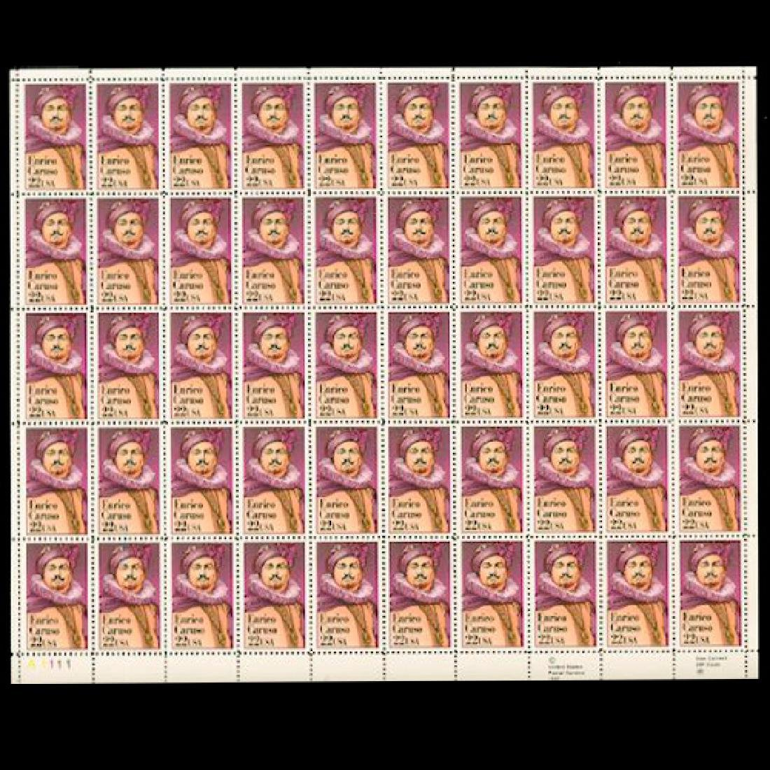 1987 US Sheet 22c Enrico Caruso Stamps MNH Scarce