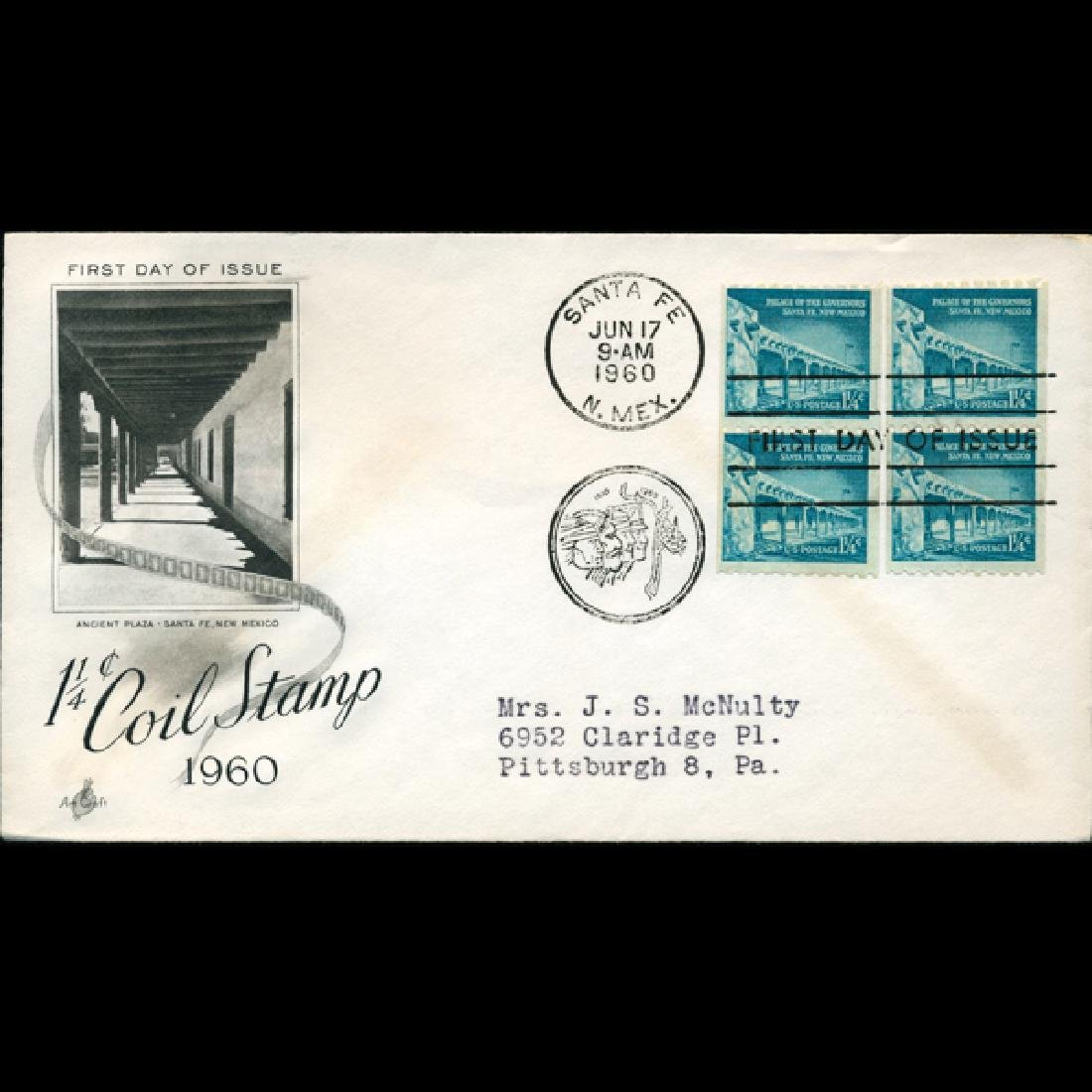 1960 US First Day 4 Block Postal Cover