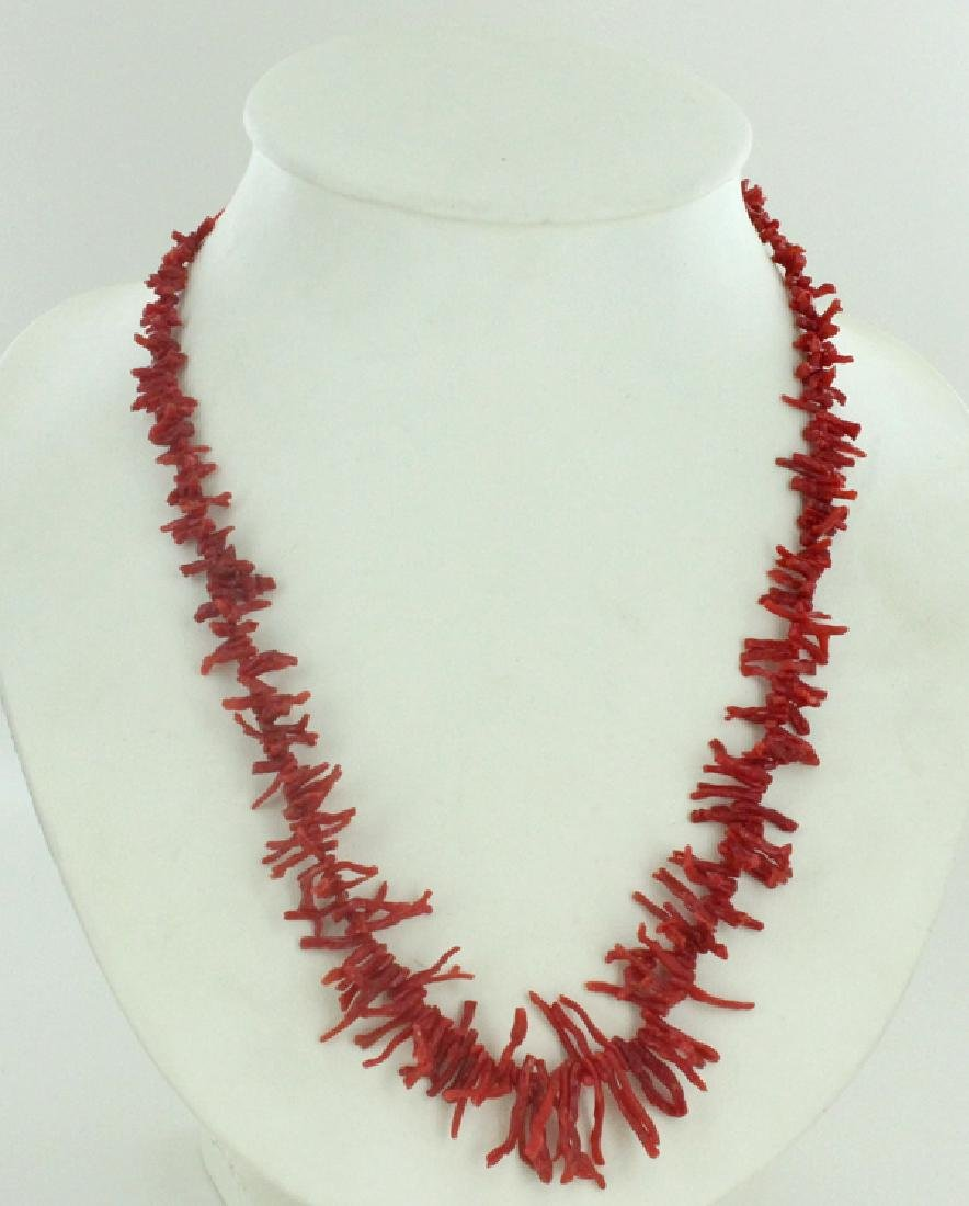 145twc Natural Sicilian Red Coral Necklace Strand