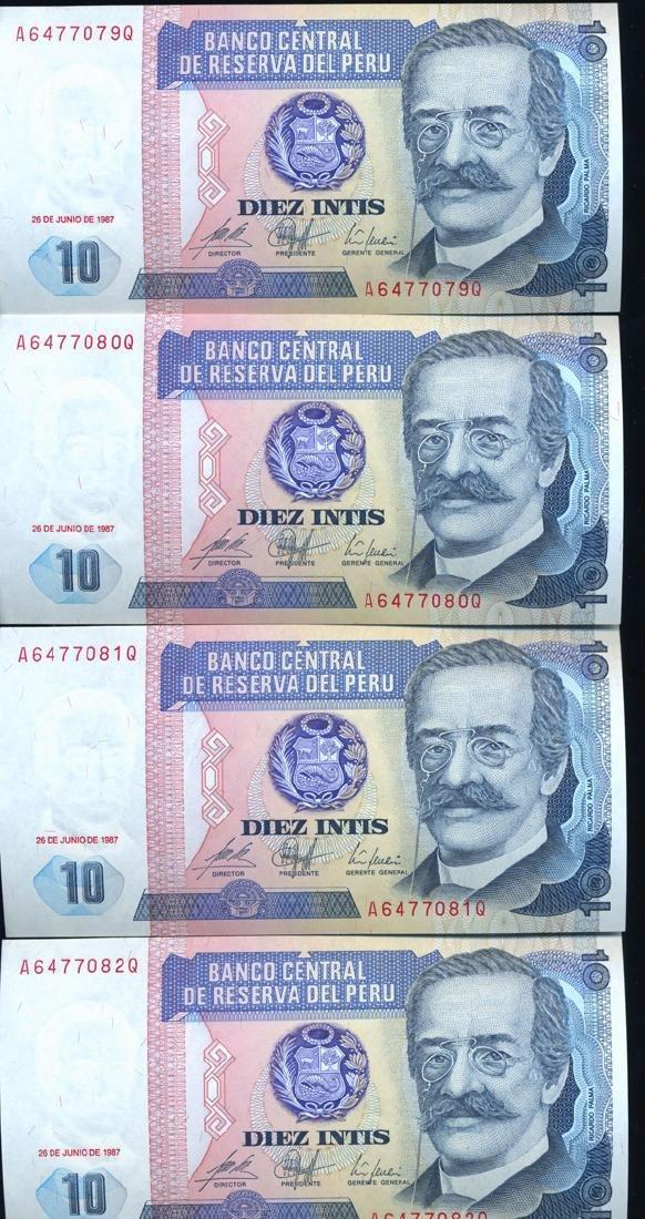 1987 Peru 10 Intis Crisp Unc Note 10pcs Scarce