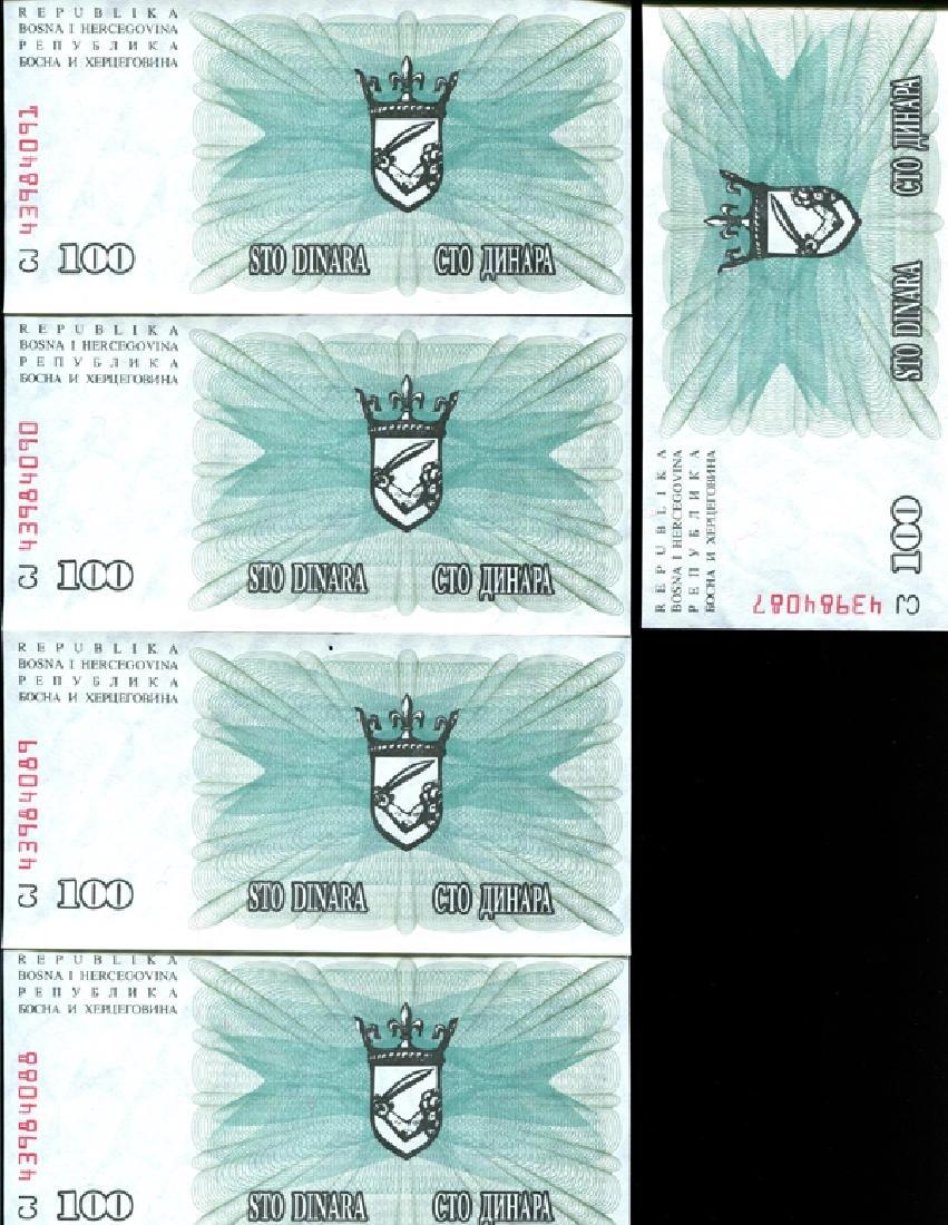 1992 Bosnia 100D Crisp Unc Note 10pcs Scarce Sequential