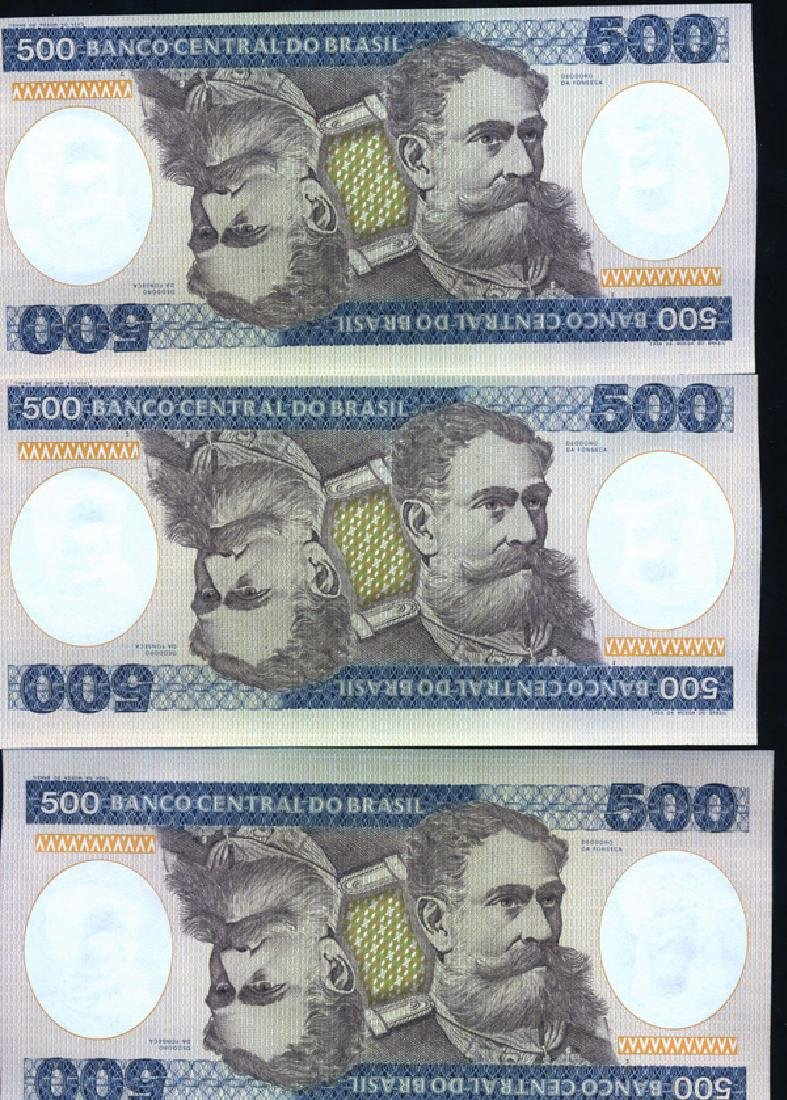 1981 Brazil 500C Crisp Unc Note 10pcs Scarce Sequential