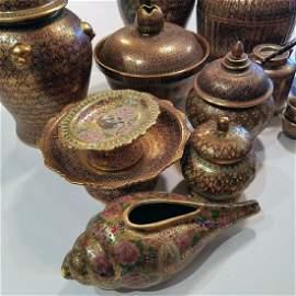 Benjarong Thai Collection W/Heavy 18k Pre-'60 12 Pieces