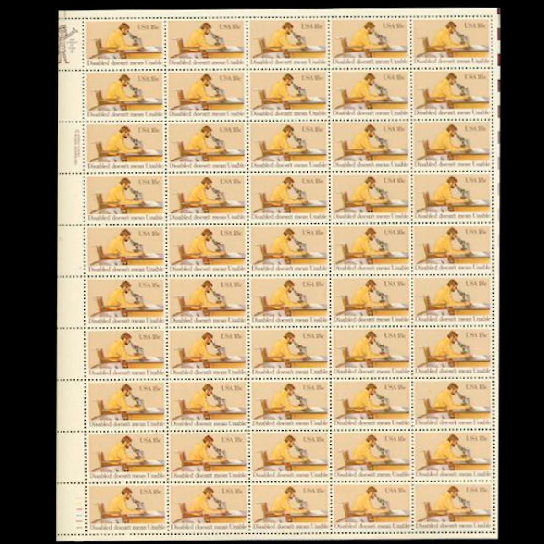 1981 US Sheet 18c Disabled Stamps MNH Errors RARE