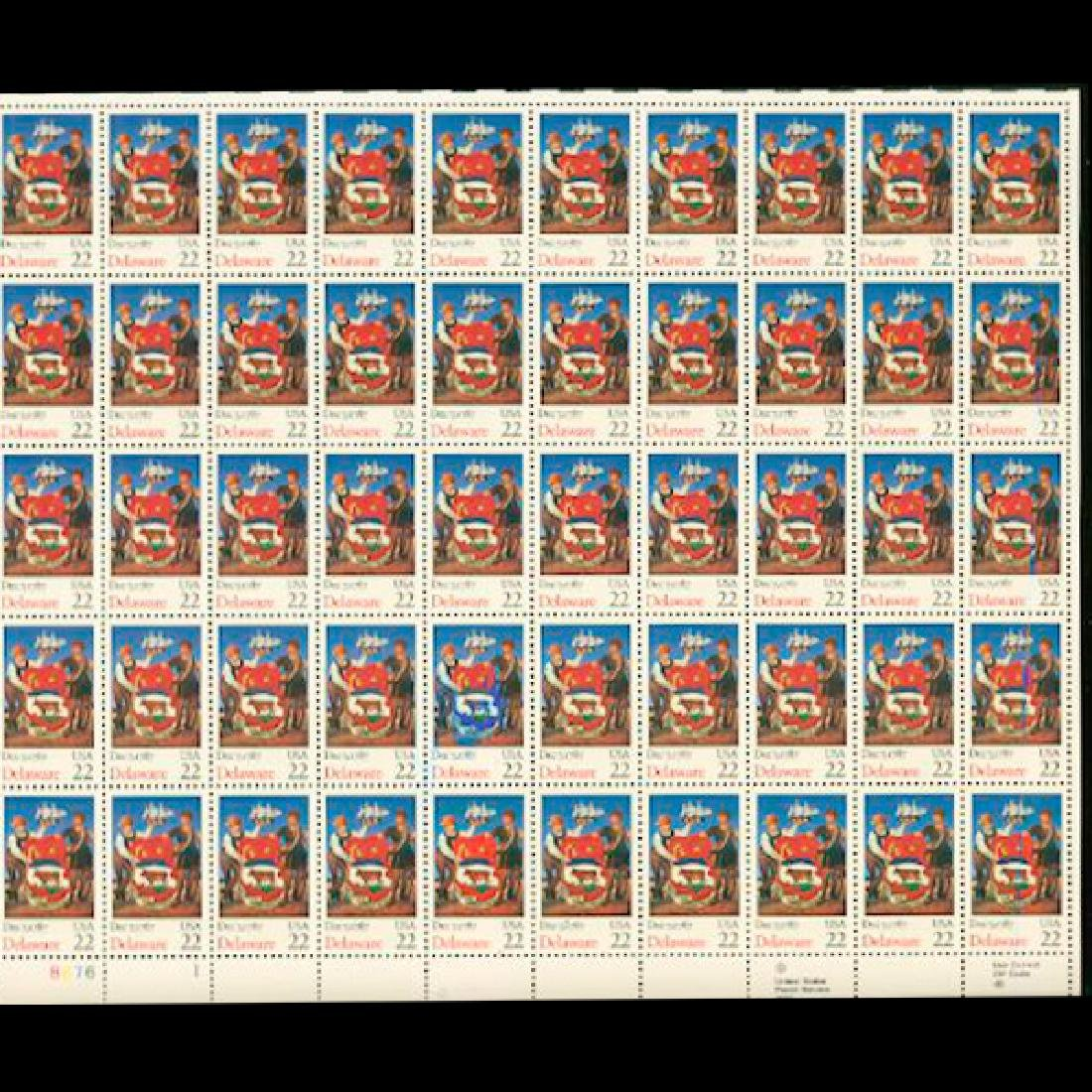 1987 US Sheet 22c Delaware Stamps MNH Scarce