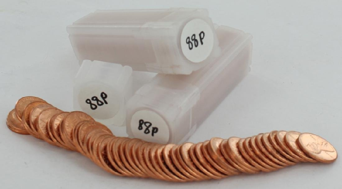 1988 Unsearched Estate Hoard BU Cent 3 Rolls of 50