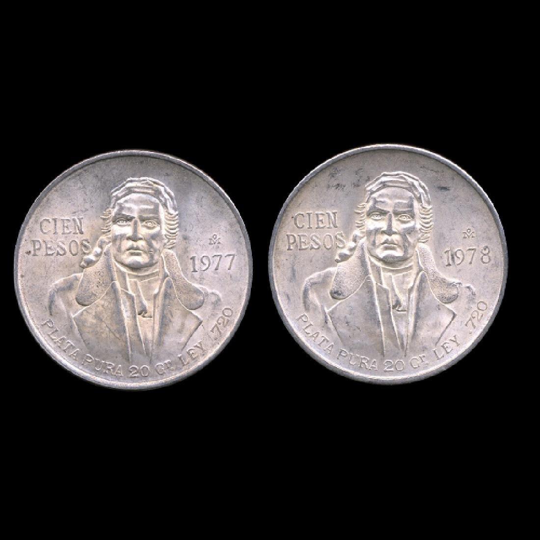 1977-78 Mexico 100 Peso 2pcs AU+
