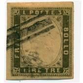 1855 Italy Sardinia 3L Used RARE