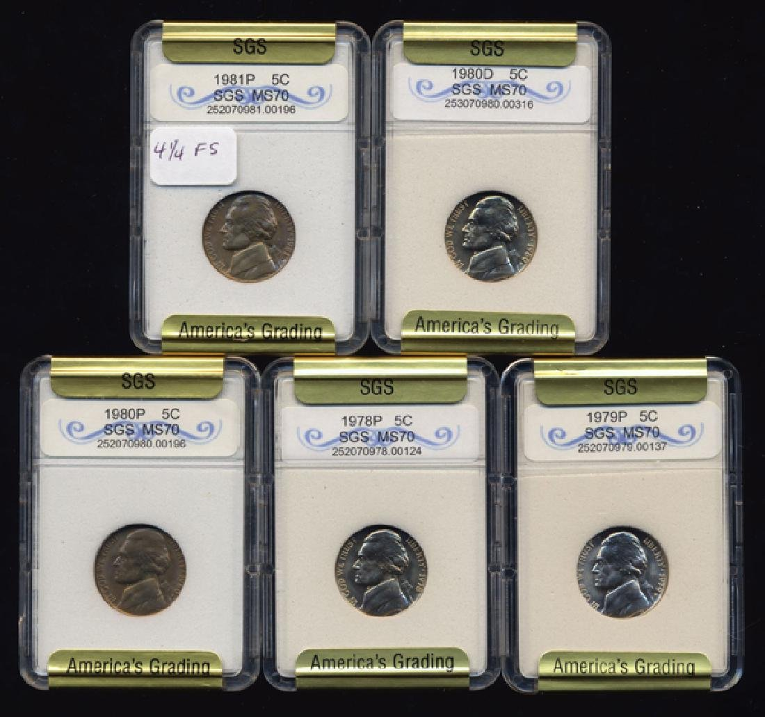 1978-81 Jefferson Nickel Set Graded GEMS