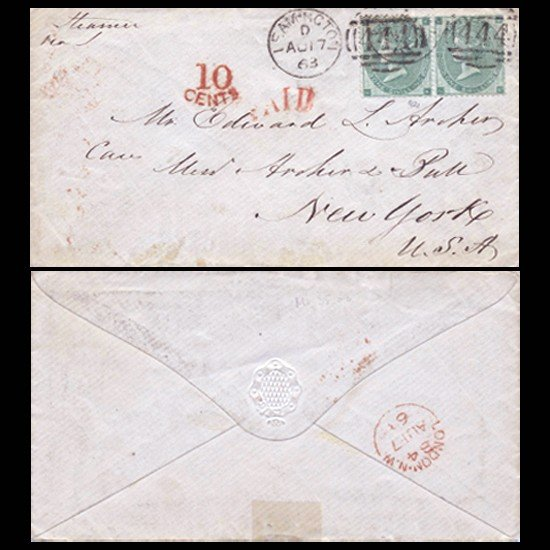 4: 1862 British Dual 1s Green on 1864 Cover Plate 2 RAR