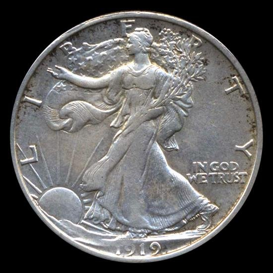 5: 1919D Walking Liberty Half RARE AU+